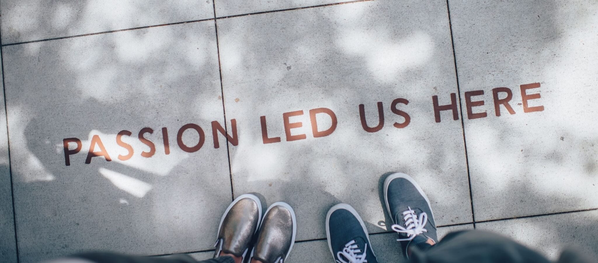 Passion led us here statement on brick paving