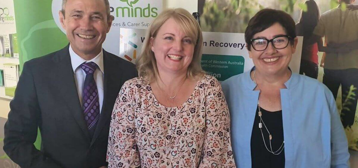 Deputy Premier, Minister for Health and Mental Health, the Hon. Roger Cook and HelpingMinds' CEO, Debbie Child celebrating contract to open Western Australia's first funded Recovery College
